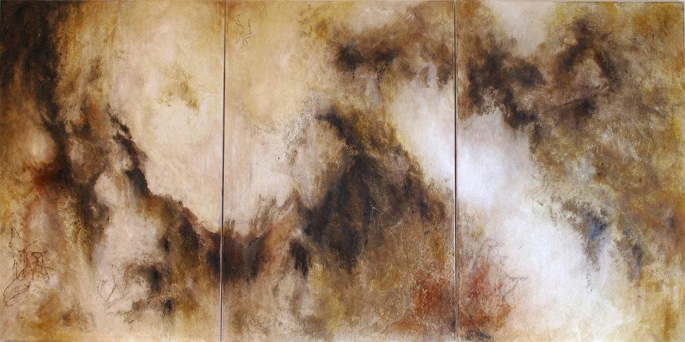 Polvoriente 180 x 90cm Pastel, ink &oil on canvas. 2017