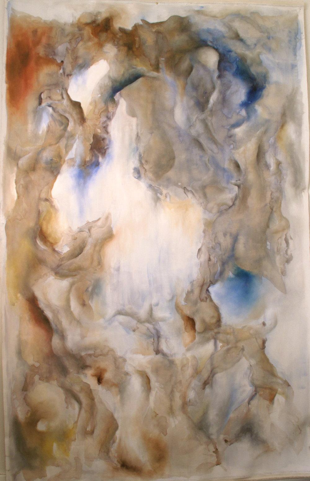 Flood.  2.1 x 1.2m Ink, Pastel & Oil on canvas. 2016