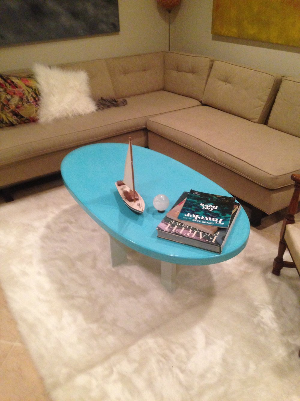 Blue Concrete Coffee Table