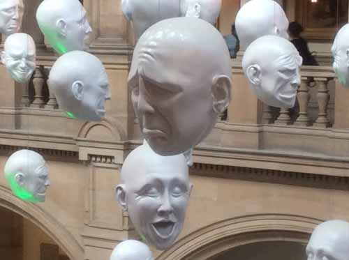 "PHOTO: ""FLOATING HEADS"" BY SOPHIE CAVE, KELVINGROVE MUSEUM, GLASGOW, SCOTLAND. BY LISA WYATT ROE, 2015."
