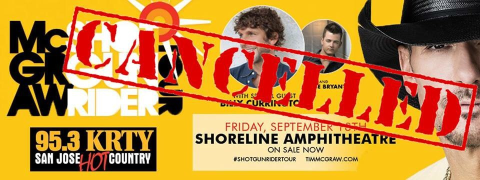 Tim McGraw at Shoreline Canceled
