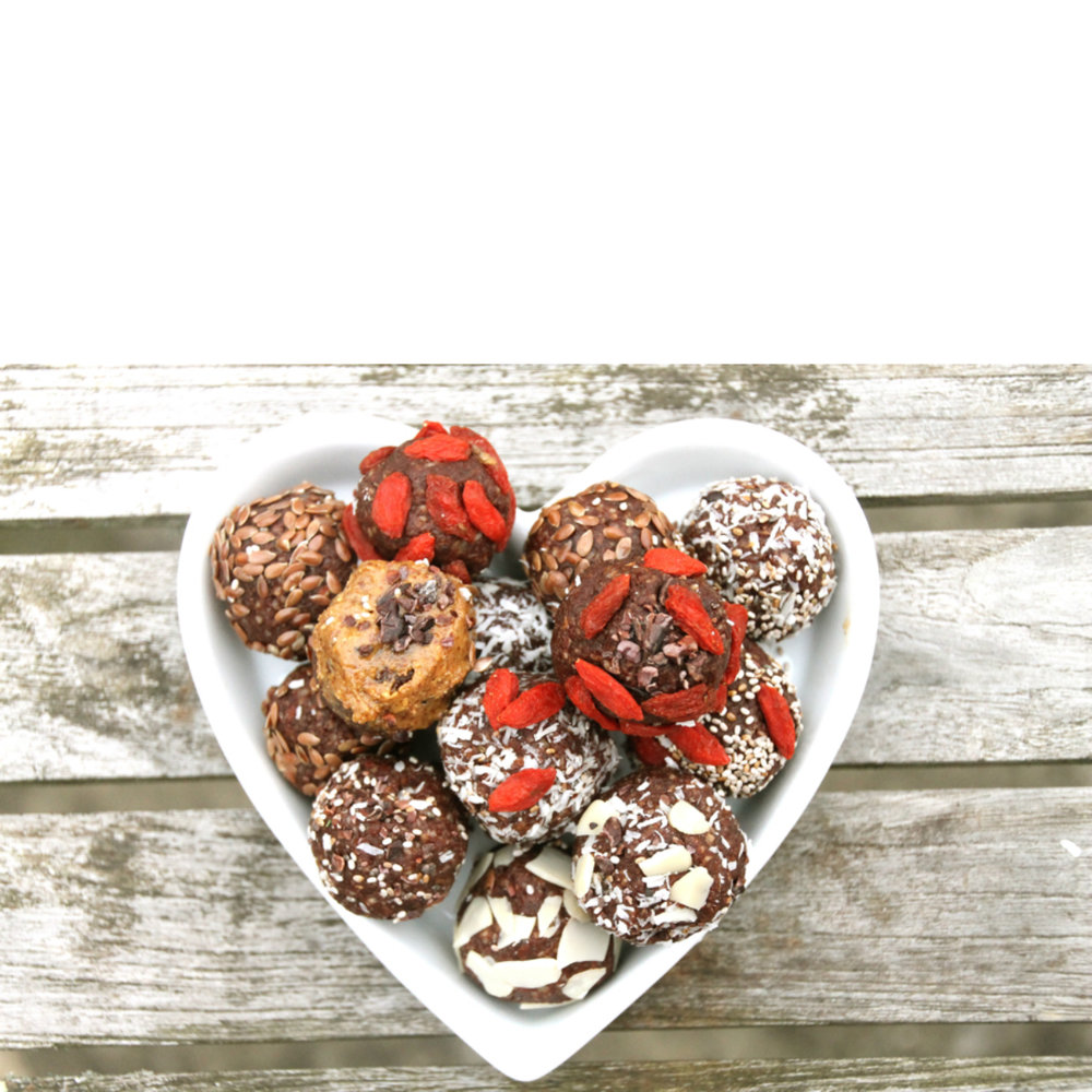 Protein-Superfoods Snac  k Balls     Almond Butter-Flax-Goji Berry-Cacao    Coconut Oil-Chia-Spirulina-Ashwagandha    Cashew Butter-Flax-Pumpkin-Maca Root