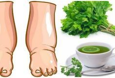 drinking or soaking feet in fresh parsley tea for reducing swollen feet