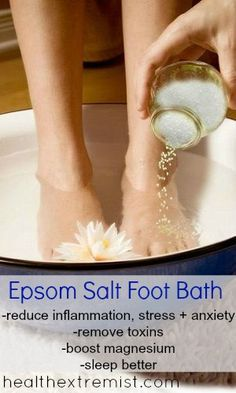 Day 7:  Soothing, de-swelling Epsom salts foot bath