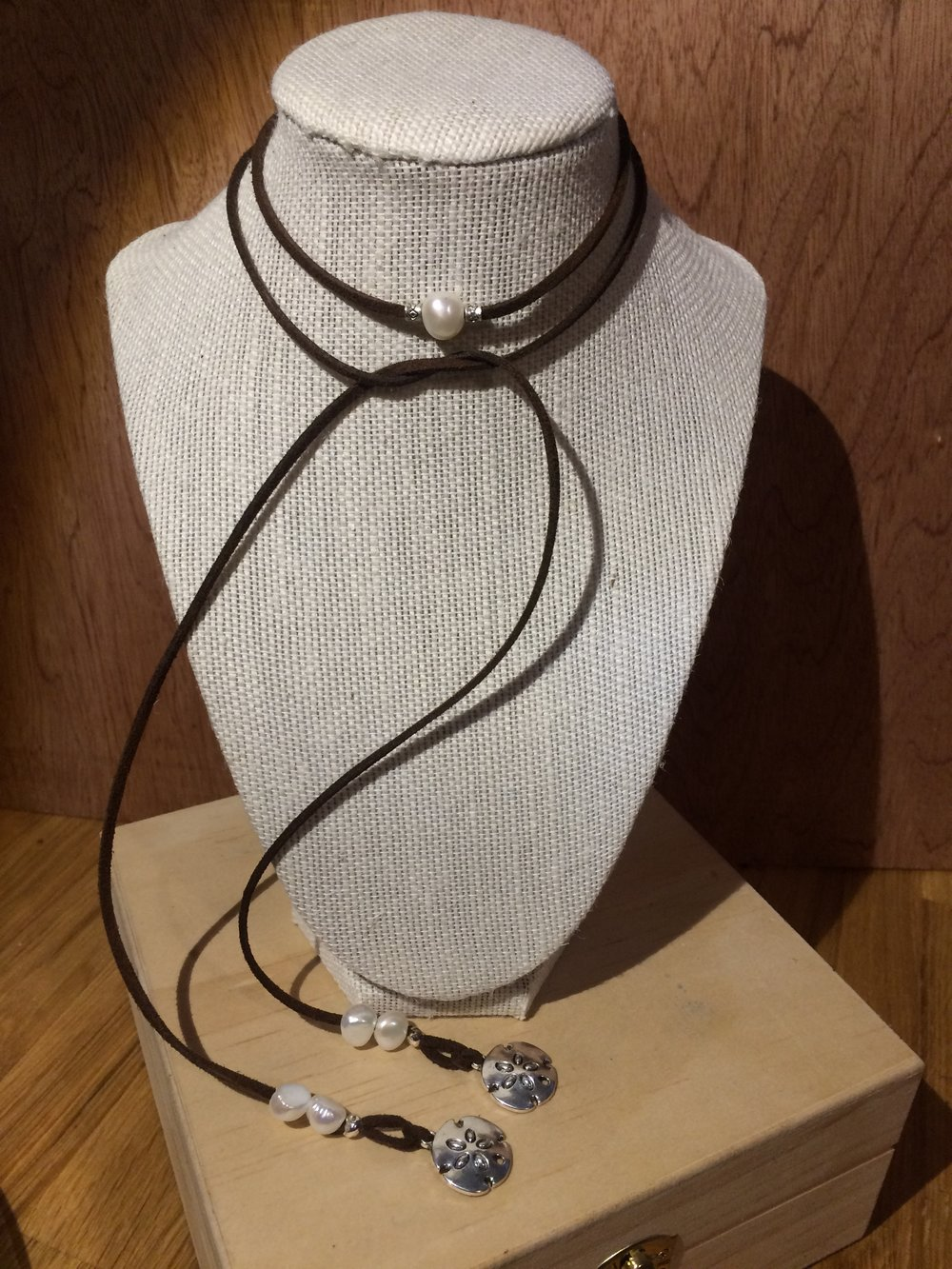 Leather Choker with White Fresh Water Pearl Beads, Silver Accents, and Silver Sand Dollar Charms: #20