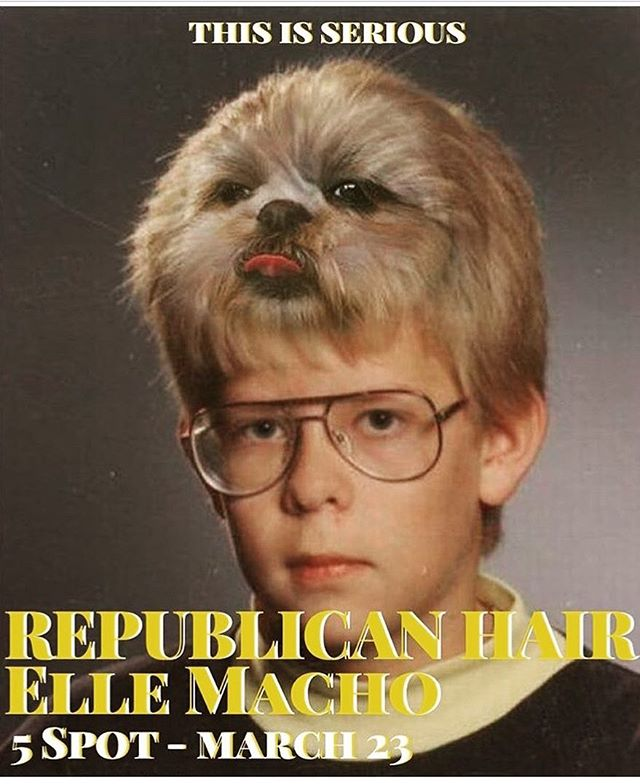 ...Stealingposting... Elle Macho to playing w/ @republican_hair March 23rd @the5spotnashville tix at door $10 9pm do your doggy do!!