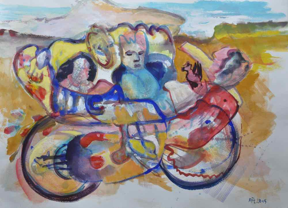 DriveIn, Gouache on paper, 56x77cm