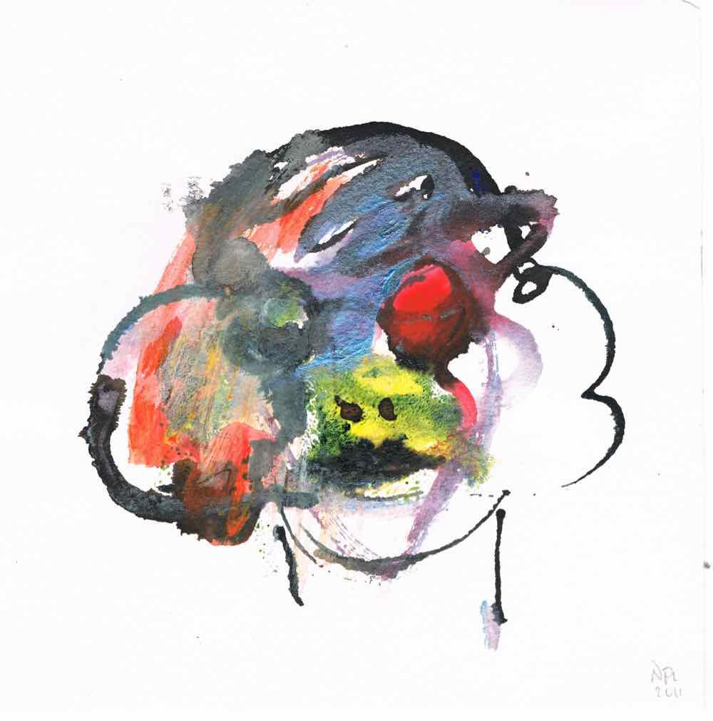 Mörderin, nail polish and gouache on paper, 30x30cm