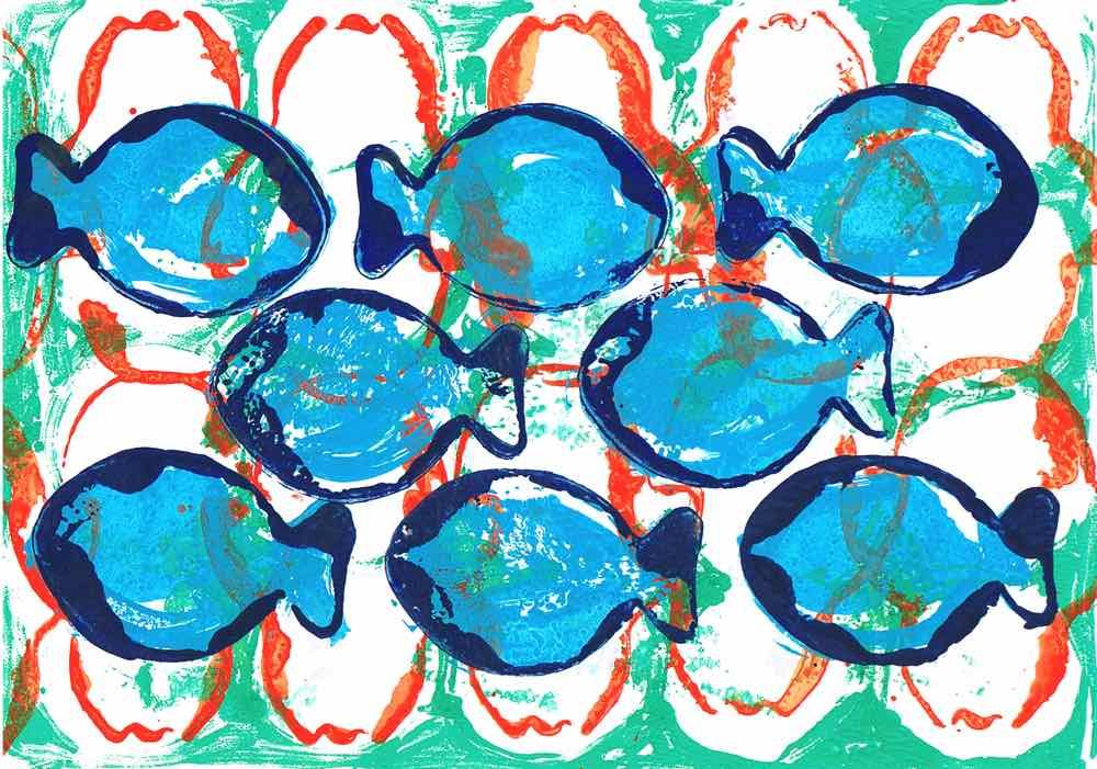 Blåtfisk, gouache on stonepaper, 21x30cm