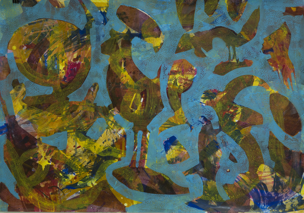 Fragile Fragmente, gouache on Steinpapier, 70x100cm