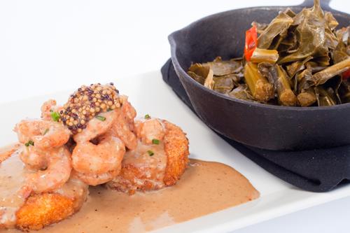 Shrimp & Grits with Collard Greens