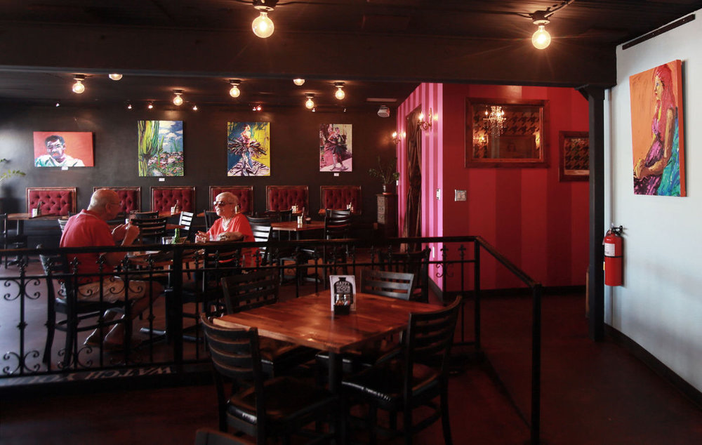 RON MEDVESCEK / ARIZONA DAILY STAR Dining room of The Parish gastropub at 6453 N. Oracle Rd. in Tucson, AZ on July 14, 2016. The restaurant features a rotating gallery of local artists work for sale.