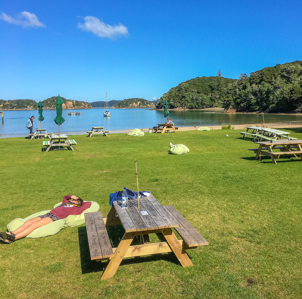 Lunch stop on stunning Urupukapuka Island, Bay of Islands, NZ.