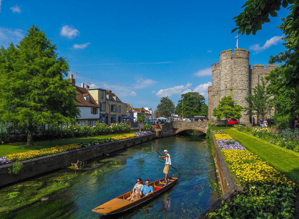 Hot town, summer in the city. Canterbury, Kent, UK.