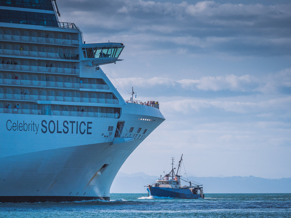 Evening departure. Celebrity Solstice, Tauranga, NZ.