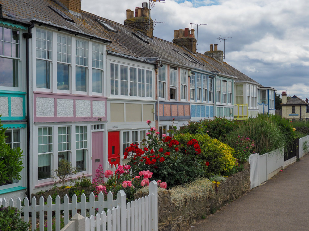 Coastal colour. Whitstable seafront homes.