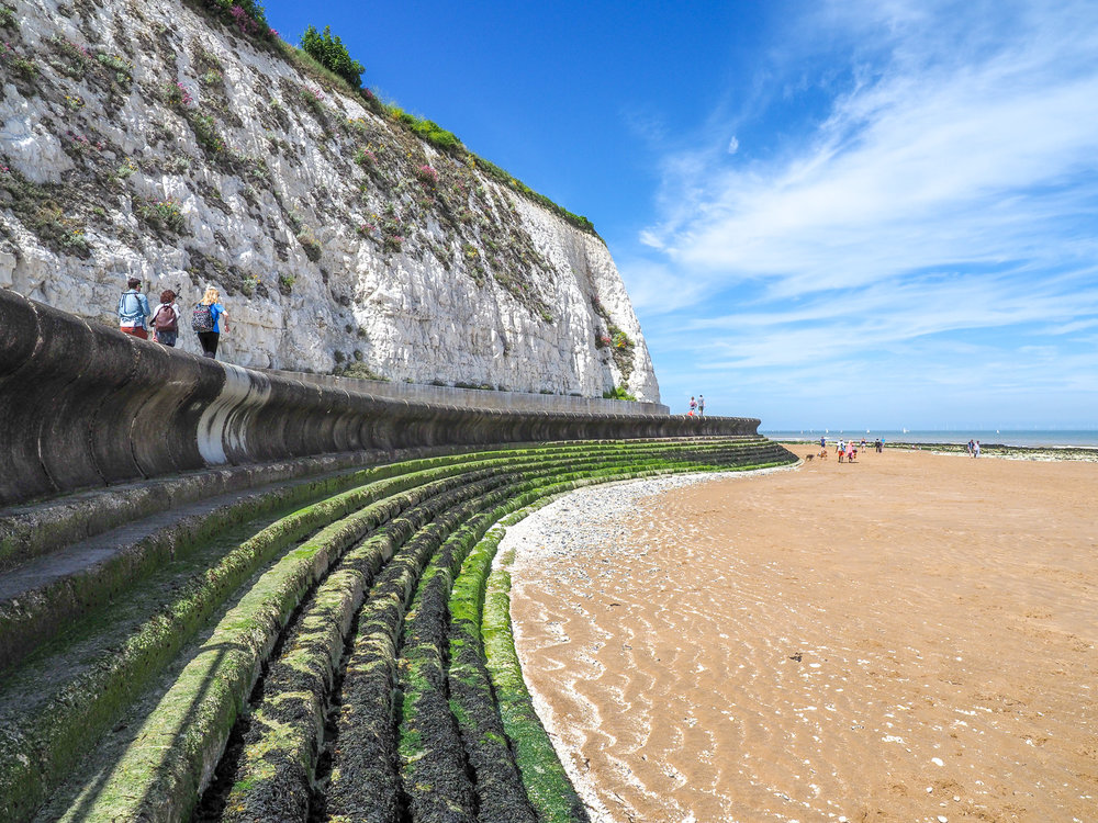 The beautiful coastal walk between Ramsgate and Broadstairs, Kent, UK (Son-in-law, my wife and our daughter up there on the left)