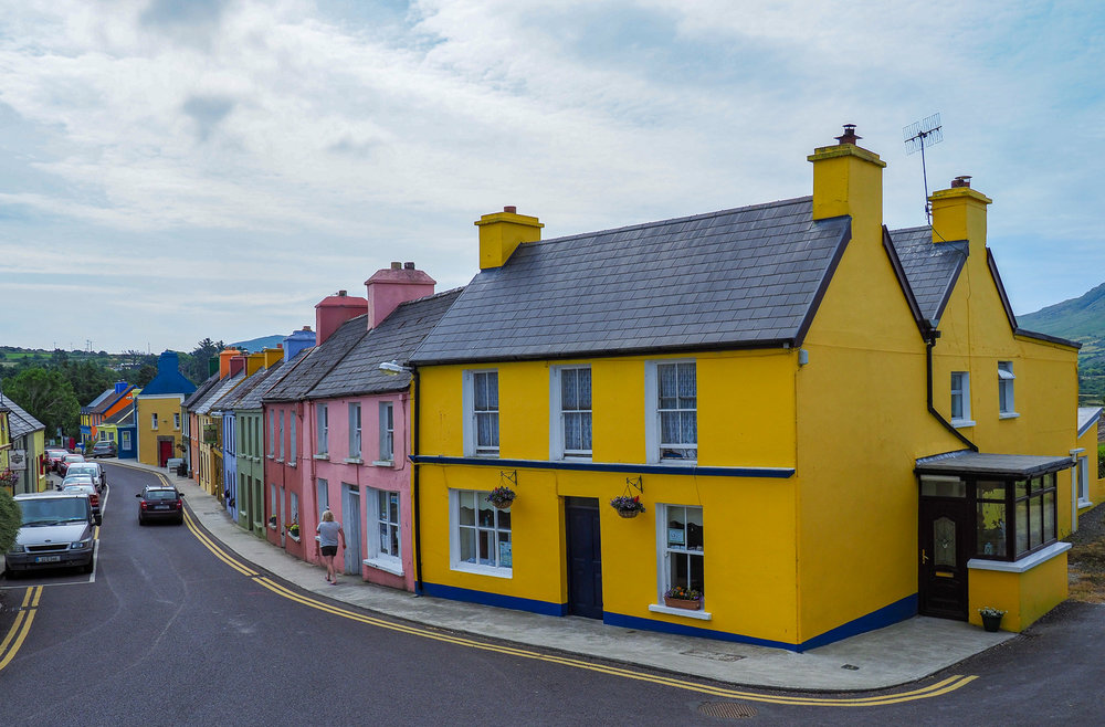 Beautiful Eyeries, Beara Peninsula, West Cork. Who would need street numbers? You'd just say 'I live in the yellow house' or 'I live in the pink house' etc.