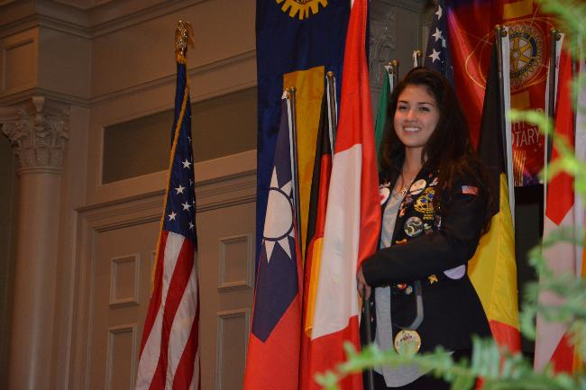 Karla Acosta - Youth Exchange Student - presenting her flag at District Conference 2015