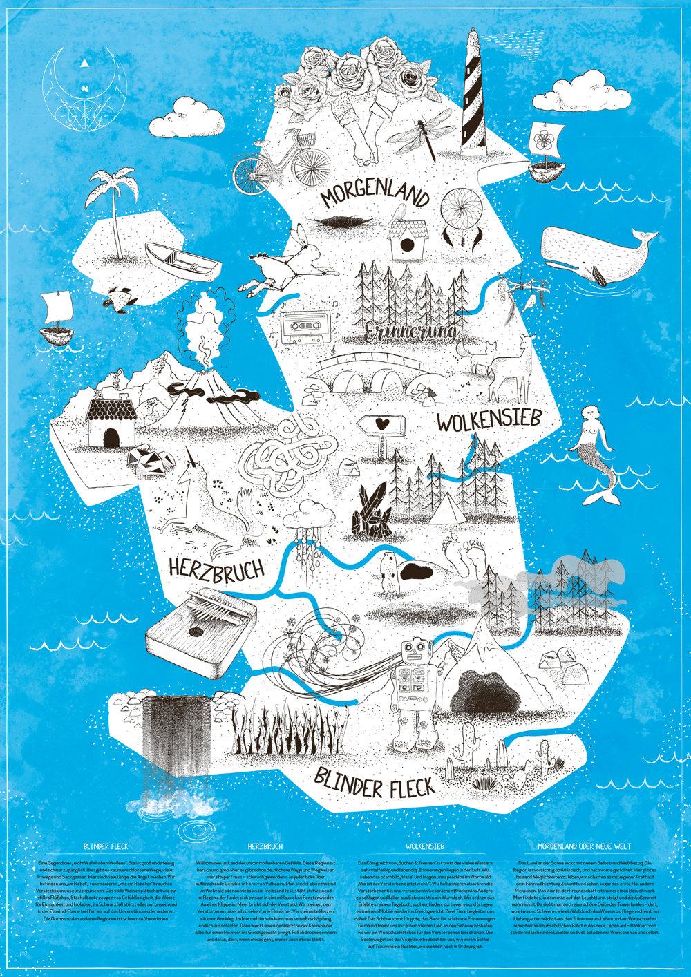 """A2 Poster """"Trauerlandkarte"""" • Offsetdruck auf FSC-zertifiziertem Munken Lynx Papier."""
