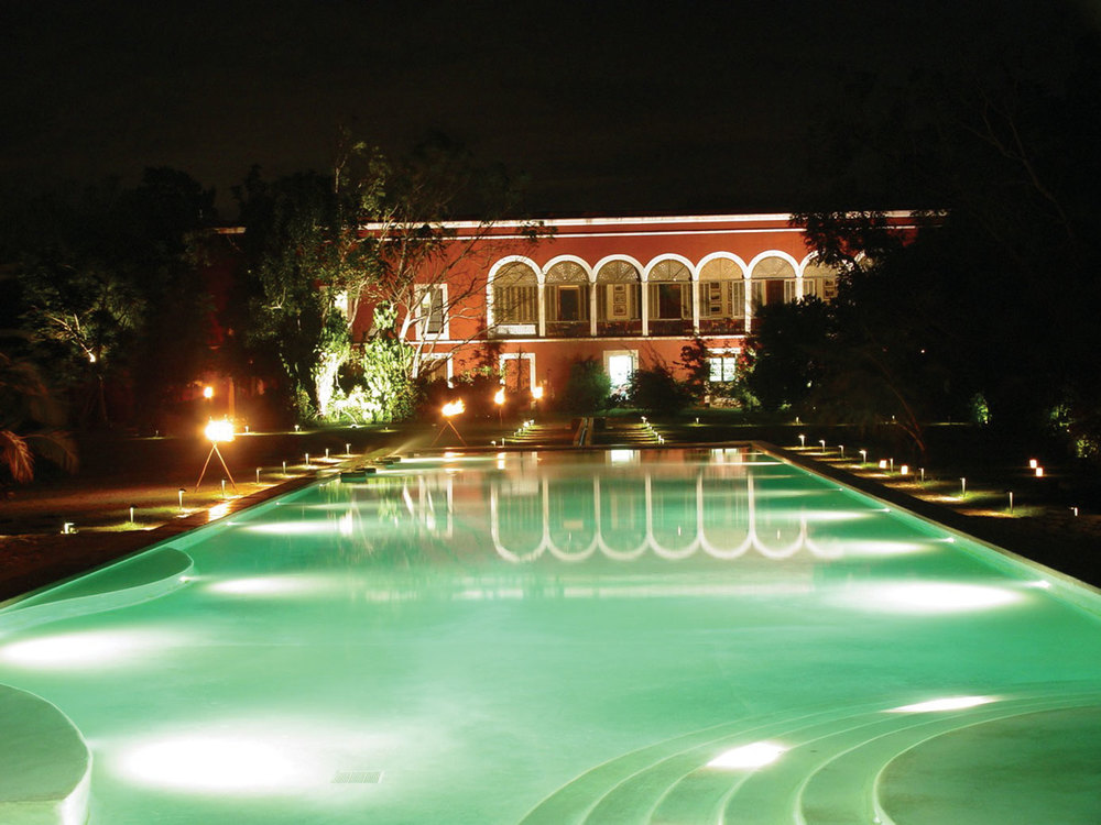 Yucatan, Abala, Hotel Hacienda Temozon, Pool at Night - Photo by The Haciendas.jpg