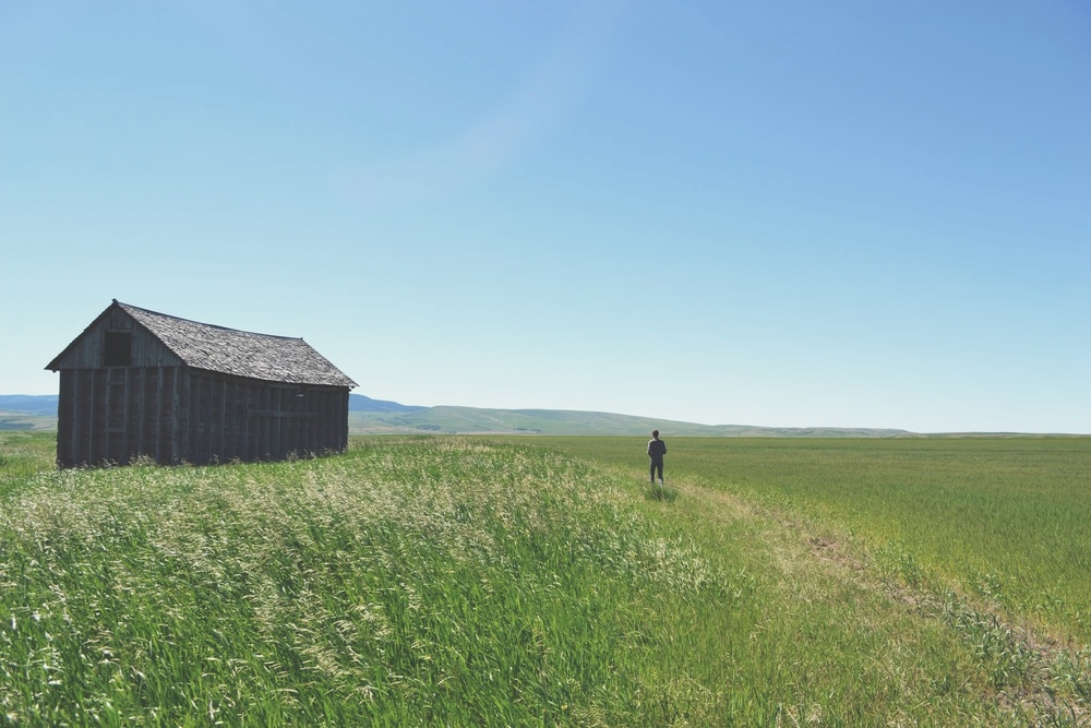 Rancher walking across field on generational Montana ranch