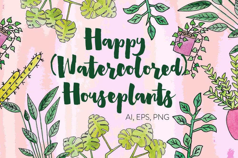 watercolored-houseplants