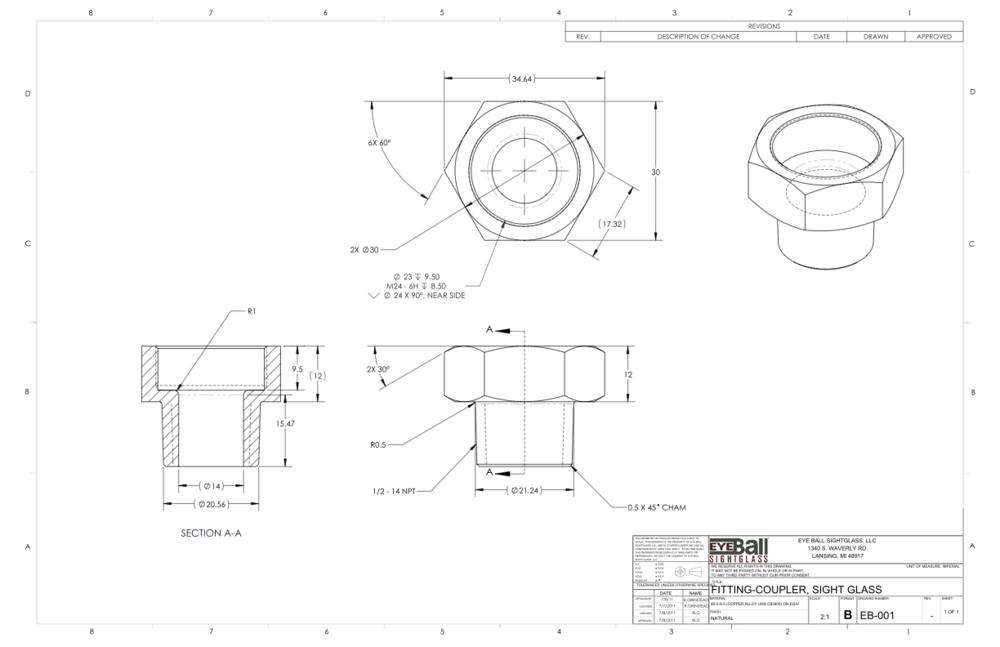 Fitting Coupler Sight Glass EB-001