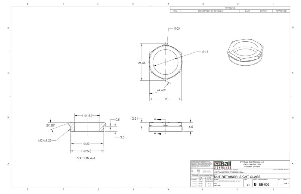 Nut Retainer Sight Glass EB-002