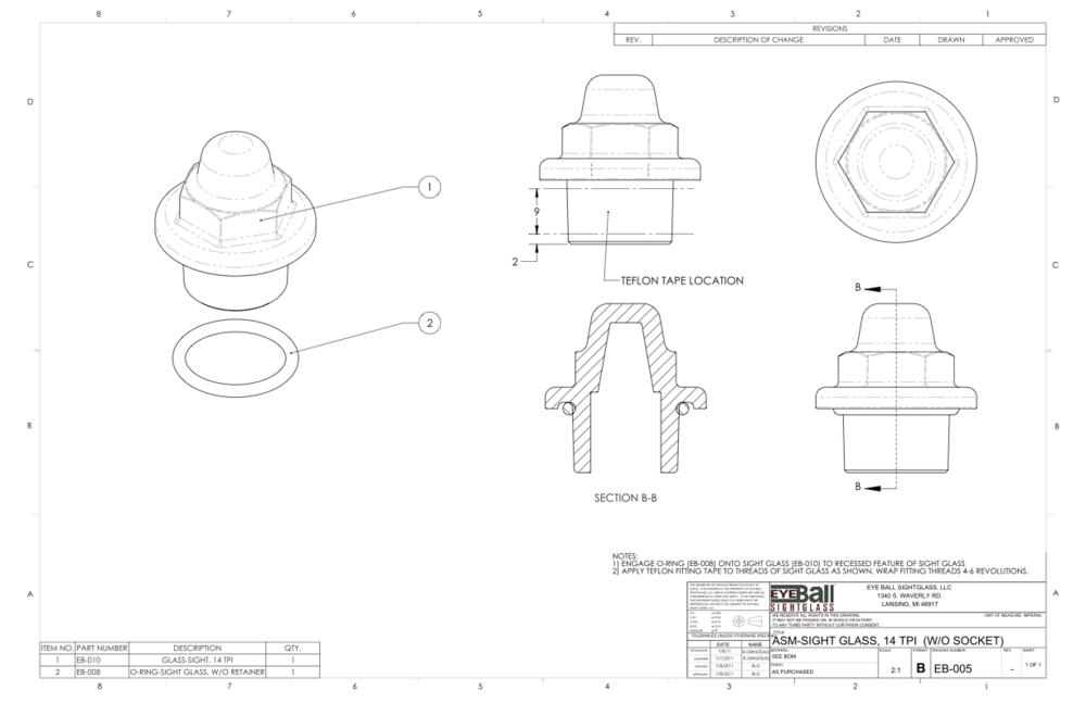 ASM Sight Glass 14 TPI (W/O Socket) EB-005