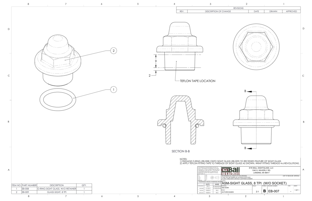 ASM Sight Glass 8 TPI (W/O Socket) EB-007