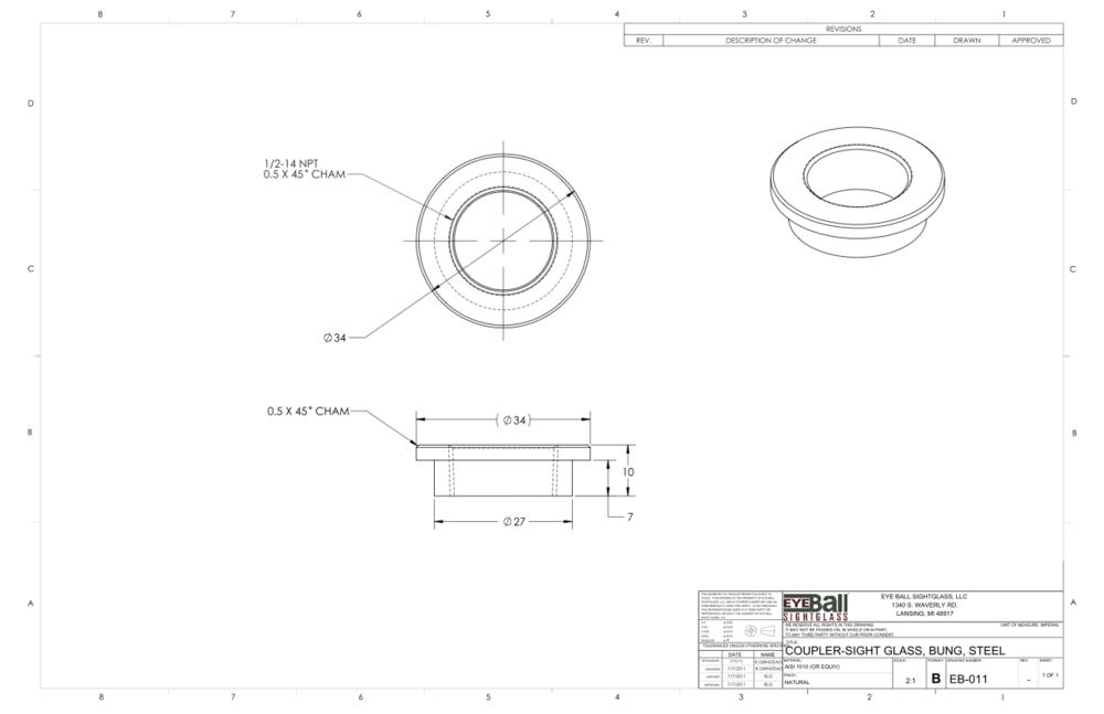 Coupler Sight Glass Bung Steel EB-011
