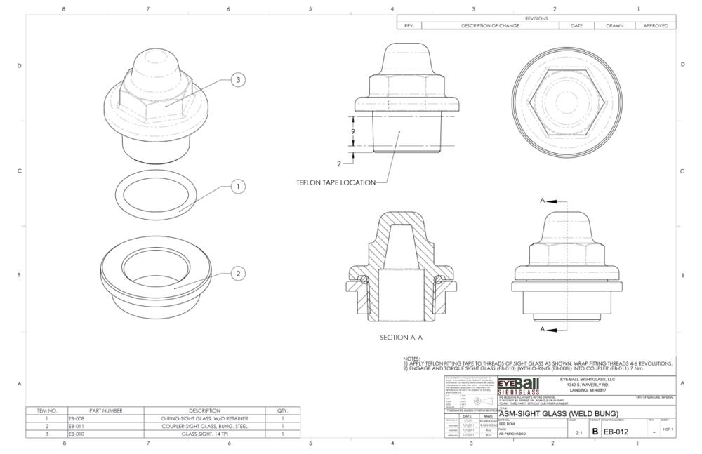 ASM Sight Glass (Weld Bung) EB-012