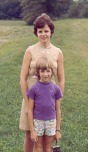 Diane and her daughter, Jackie, standing outside