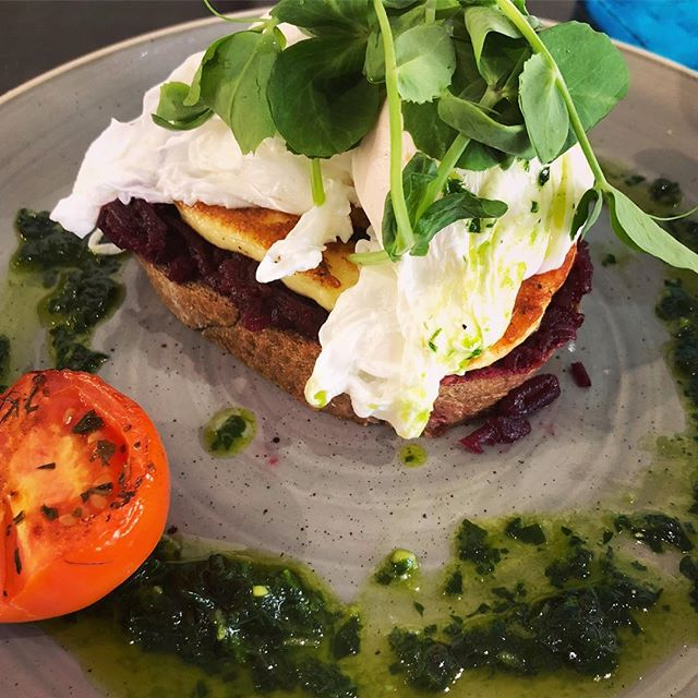 The most delicious sweet beetroot marmalade with haloumi & poached eggs @thelittlelarderportdouglas Holidays are tough!