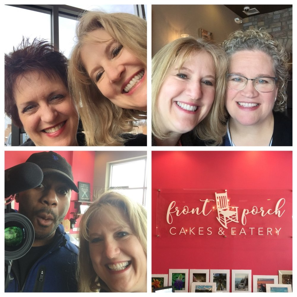 Dawn and Kim, Kim and Vickie, and Sam and Kim at the Front Porch Cakes and Eatery in Richmond, VA on March 6, 2018