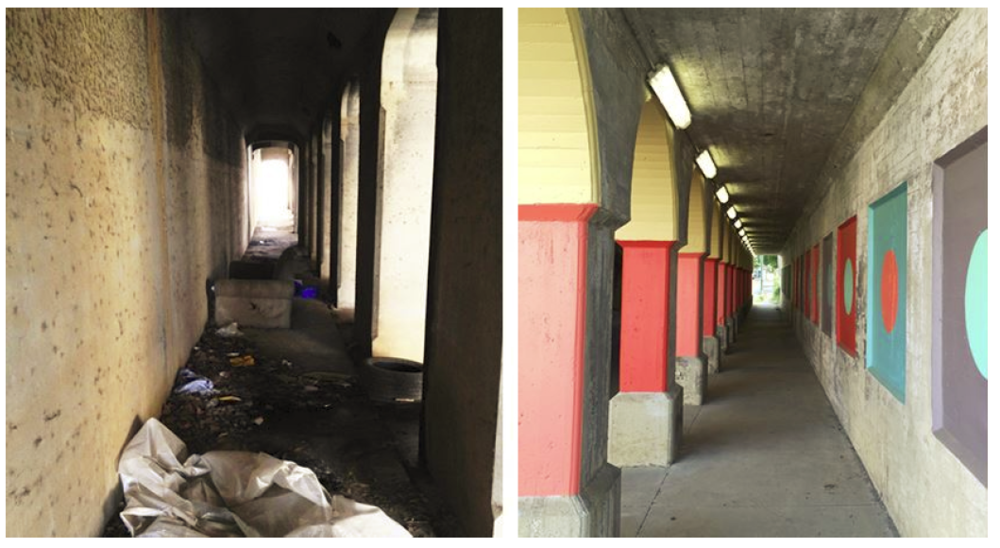 Before and after underpass