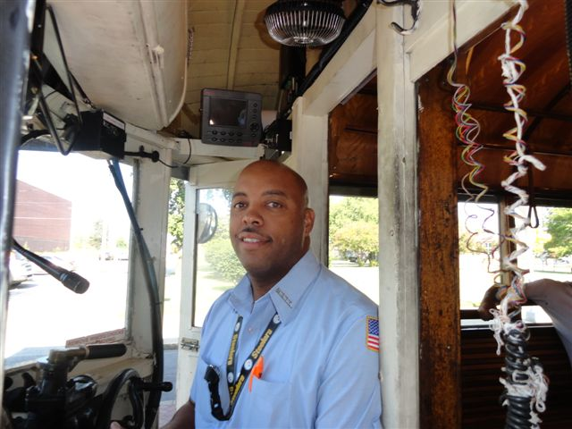 Trolley driver Terry Johnson in the driver's seat of one of the MATA trolleys
