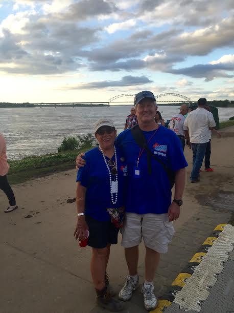 Marcy Siebert and Jim walker in their volunteer shirts