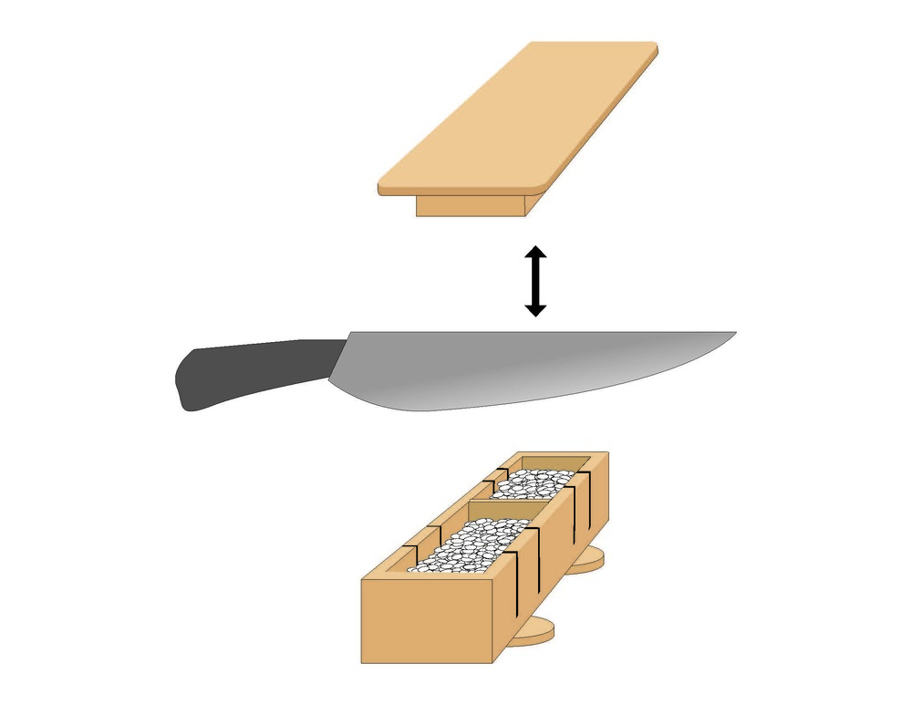 Open the plate presser. Use the cutting knife to cut through the sushi using the slots(Key is to cut through the rice and slice the fish).  Close the plate presser again.
