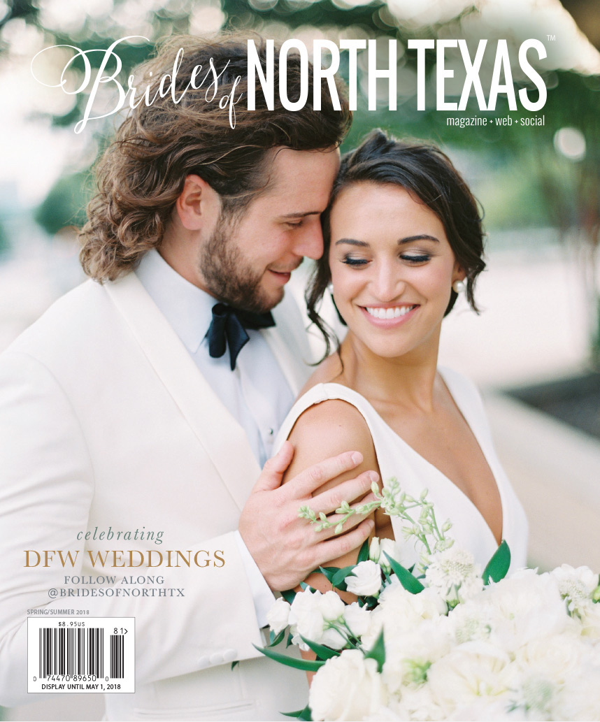 I'm so thrilled and honored to share that Victoria and Canon's wedding was featured on the cover of the Spring/Summer 2018 issue of the Brides of North Texas Magazine!  You can click here to view their full feature  of this beautiful wedding. Victoria and Canon were such a joy to plan with, and we couldn't have made their day perfect without the incredible team of vendor friends listed below!  Click here to see our full blog post of the wedding!    Ceremony:  First Methodist Church   Planning & Design:  Ivory and Vine Event Co.   Beauty:  Lip Service Makeup   Cake:  Creme De La Creme   Photography:  Allen Tsai   Cinema:  Lynn Films   Entertainment:  Kornerbooth   Entertainment:  Emerald City Band   Florals:  Sage Fine Flowers   Transportation:  Roadrunner Charters   Venue:  Colonial Country Club
