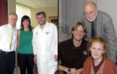 Graduates of Loma Linda University School of Medicine are helping to deliver health care to patients in the midst of the deadly Ebola outbreak in West Africa. In the left photo, Dr. Gillian Seton (center) is flanked by Dr. Roger Hadley (left), dean of Loma Linda University School of Medicine, and Dr. Carlos Garberoglio, professor and chair of surgery at Loma Linda University School of Medicine. In the right photo, Dr. James Appel and his wife, Sarah, are joined by Dr. Richard Hart (top), president of Adventist Health International and Loma Linda University Health. Credit: ANN