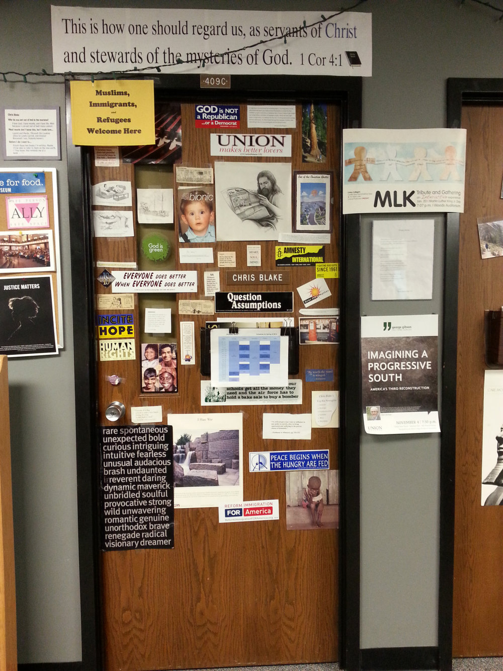 Chris Blake's office door.