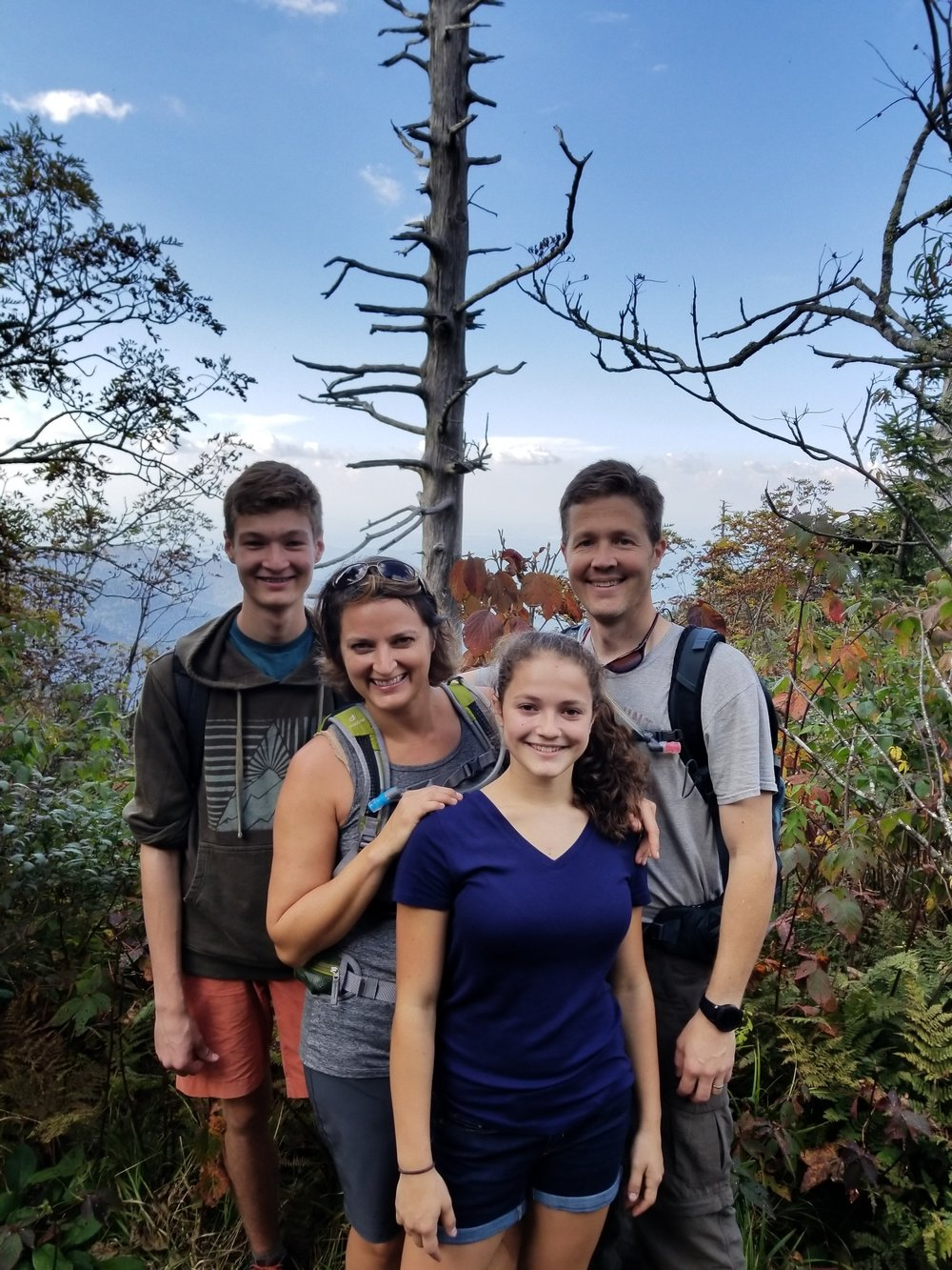 Karah Thompson hiking with her family in the Smokies.