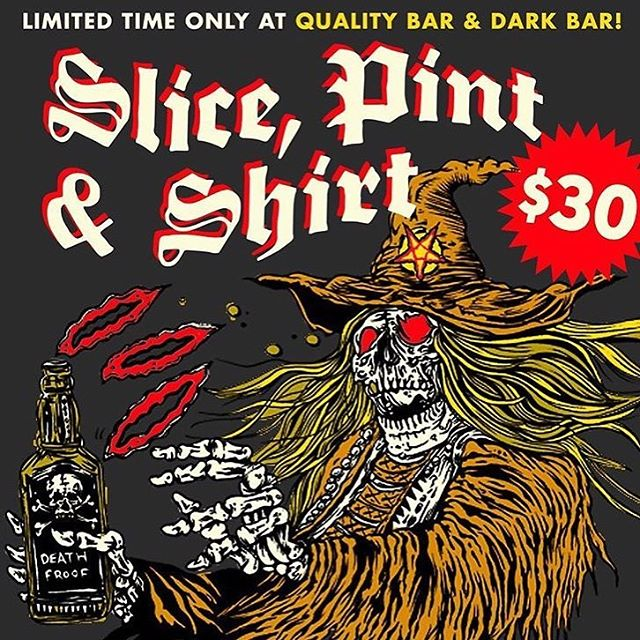 Starting now until March, get yourself a slice, pint, and a t-shirt for $30. Now that ain't too bad. Limited time only so hurry in!