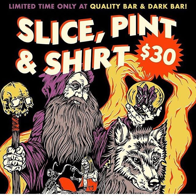 Get a slice, a pint, and a shirt for $30! Deals are going down at Dark Bar and @qualitybarpdx if you're in (PDX) So hurry in before these t's are gone.