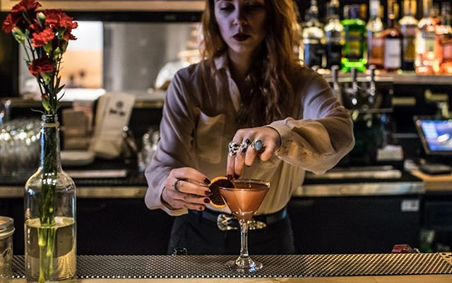 Our wonderful @g_retch doing what she does best. Making one of her original from scratch cocktails. New Dark Bar seasonal cocktails coming very soon 🌹🍸💀 📷 @reigningcloud