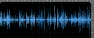 Waveform after audio clean-up & enhancement. Ambient noise dramatically reduced and speech volume increased.