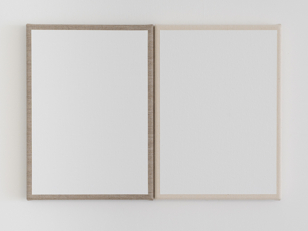 Matt Henry You say Alabaster, I say Alabasta (diptych) 2015, Acrylic, linen, canvas, pine stretchers, 317 x 460 mm