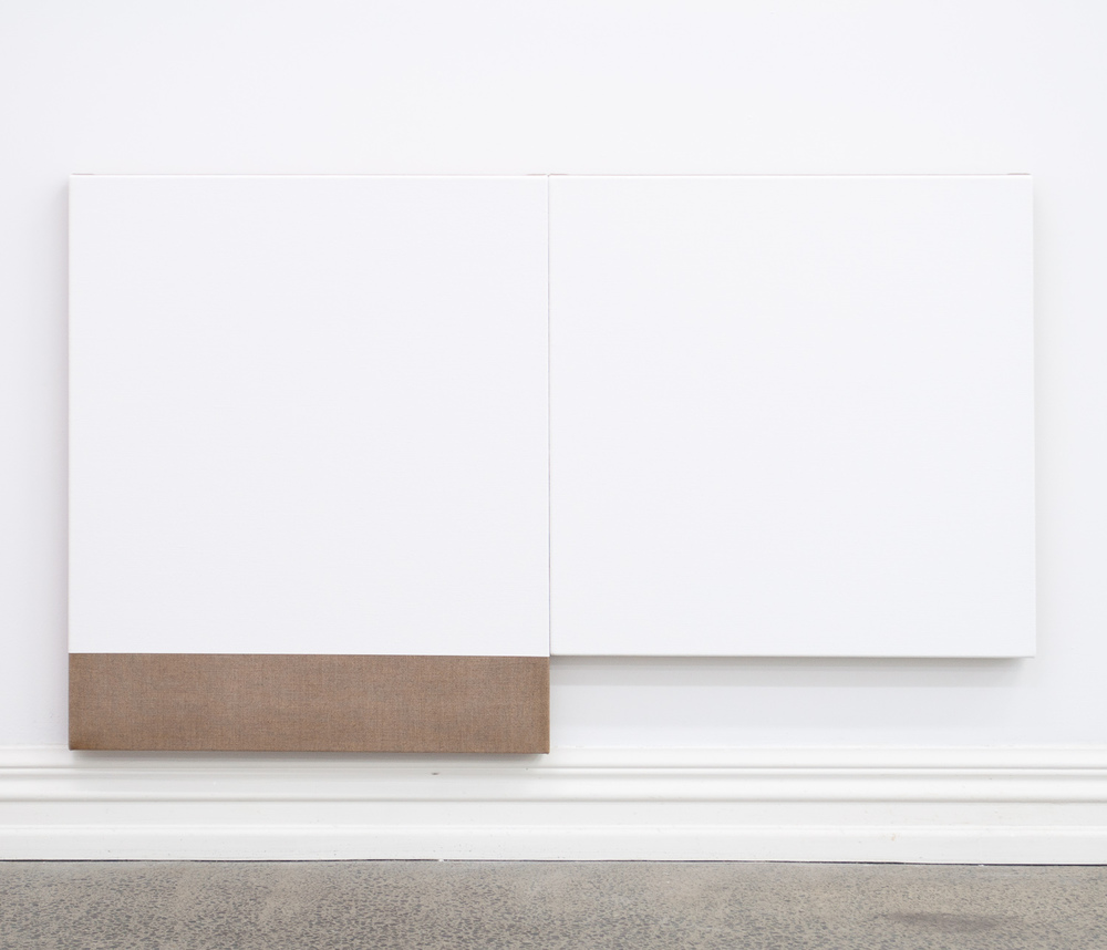 Untitled diptych (White), 2010, Acrylic on linen, 710 x 1188 mm